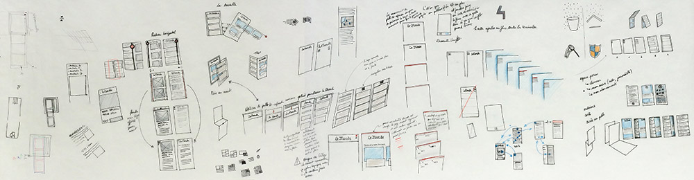 some example of sketches done on a tracing paper roll showing information organisation in different spaces of a smartphone app
