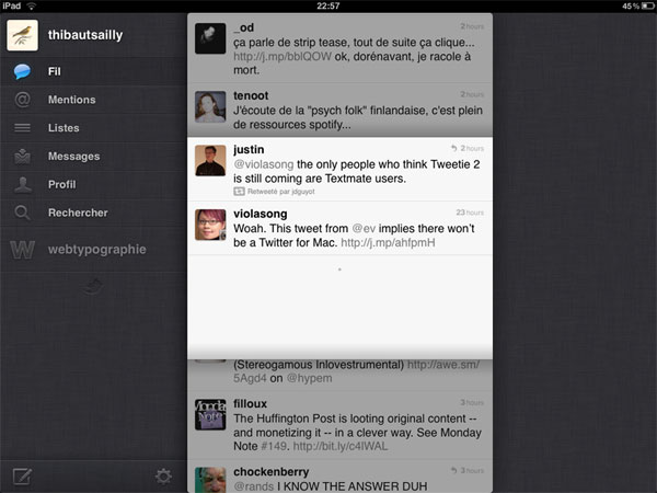 Screen shot of Twitter for iPad with conversation overlay in the timeline