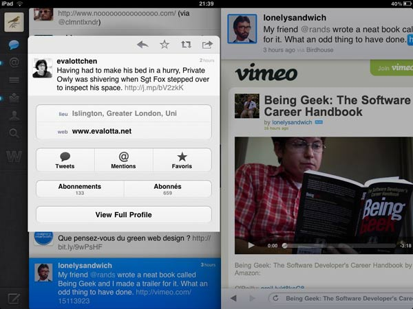 Screen shot of Twitter for iPad with author's profile overlay above the timeline and webview with video loading